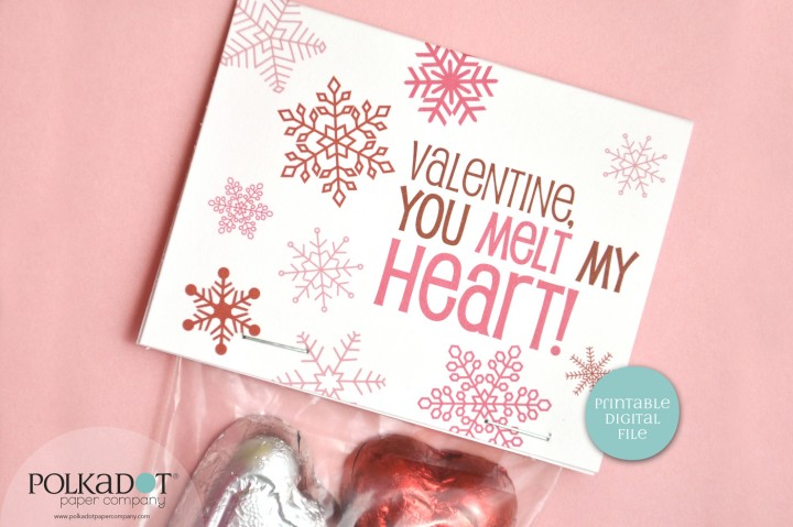 Snowflake Valentine Printable Bag Topper